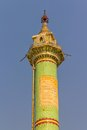 Column sagaing hill votive green in buddhistic temple at the top of near mandalay myanmar Stock Photo