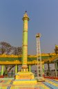 Column sagaing hill votive green in buddhistic temple at the top of near mandalay myanmar Stock Photography