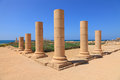 Column triangle marble with blue sky and sea in background mediterranean caesarea antique town reserve israel Royalty Free Stock Image