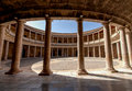 Columned courtyard palace charles v palacio de carlos v site museum alhambra granada spain Royalty Free Stock Image