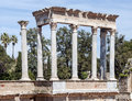 Columns amphitheatre detail of of emerita augusta roman located in the spanish city of merida Royalty Free Stock Photos