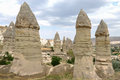 Columns and Cappadocia landscape Royalty Free Stock Photo