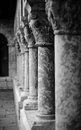 Columns of the cloisters in new york Stock Image