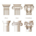 Columns in different styles stylized and realistic ionic doric corinthian for your architectural designs Royalty Free Stock Image
