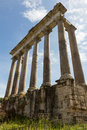 Columns at the forum ruins angled in rome italy on a sunny day Royalty Free Stock Images