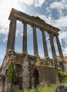 Columns at the forum ruins sunbeams in rome italy on a sunny day Stock Image