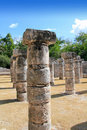 Columns Mayan Chichen Itza Mexico ruins in rows Stock Images