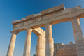 Columns of аncient пreek acropolis stone the stage on the backgound Stock Photography
