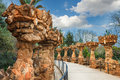 Columns in Park Guell designed by Antoni Gaudi in Barcelona, Spain Royalty Free Stock Photo
