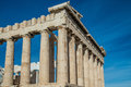 Columns of the Parthenon at the Athens Acropolis Royalty Free Stock Photo