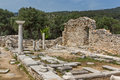 Columns in Ruins of ancient church in Archaeological site of Aliki, Thassos island,  Greece Royalty Free Stock Photo