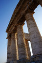 The columns of the Segesta temple in Sicily Royalty Free Stock Photo