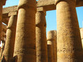 Columns with stone carved Egyptian hieroglyphics Royalty Free Stock Photography