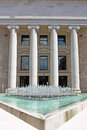 Columns and water fountain in front of the croatian national bank in zagreb Stock Images