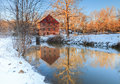 Colvin run mill in winter great falls virginia is a restored and operational water powered grist open to the public fairfax county Stock Photo