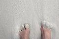 Com os pés descalços no feriado no sandy beach Imagem de Stock Royalty Free