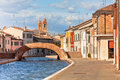 Comacchio, Italy - Canal and colorful houses Stock Photo