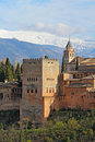 Comares Tower of the Alhambra in Granda, Spain vertical Royalty Free Stock Photo