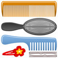 Comb and Hairbrush Set Royalty Free Stock Image