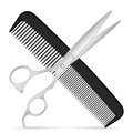 Comb scissors and on a white background Stock Photos