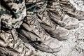 Combat boots in the desert