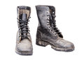 Combat boots dirty isolated on white Stock Image