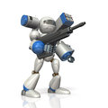 Combat robot on science fiction equipped with a missile launcher Royalty Free Stock Photography