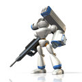 Combat robot on science fiction equipped with a missile launcher Stock Photo