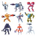 Combat robots. Armor transformers android protective electronic soldier future weapon vector characters