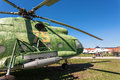 Combat transport helicopter on sky background togliatti russia may in togliatti technical museum Stock Photo