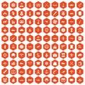 100 combat vehicles icons hexagon orange