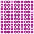 100 combat vehicles icons hexagon violet