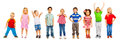 Combination of little kids standing isolated a number divers looking preschool children on white Royalty Free Stock Photos