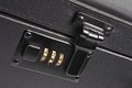 Combination lock black attache case in detail Royalty Free Stock Photos