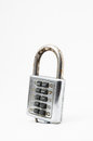 Combination lock vintage used safe lockon a white background Stock Photos