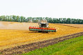 Combine cleans the sloping wheat field Stock Image