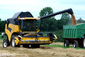 Combine harvester on a corn field in action Royalty Free Stock Photos