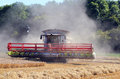 Combine harvester in the dust. Royalty Free Stock Photo