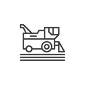 Combine harvester line icon, outline vector sign, linear style pictogram isolated on white. Symbol, logo illustration. Editable st