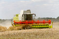 Combine harvester at rape harvest Royalty Free Stock Photos