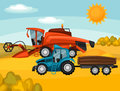 Combine harvester and tractor on wheat field. Agricultural illustration farm rural landscape Royalty Free Stock Photo