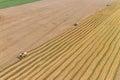 Combine Harvesting a Fall Corn Field Royalty Free Stock Photo