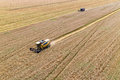 Combine Harvesting a Fall Corn Field Royalty Free Stock Photo