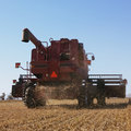 Combine harvesting soybeans. Royalty Free Stock Photography