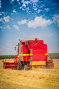Combine harvesting wheat Royalty Free Stock Photo