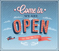 Come in we are open typographic design vector illustration Royalty Free Stock Photography