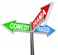 Comedy drama tragedy colorful arrow signs theatre three reading and representing the contrasting types of stage and productions Royalty Free Stock Photo