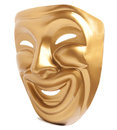 Comedy theatrical mask isolated on a white background Royalty Free Stock Images
