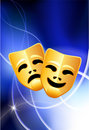 Comedy and Tragedy Masks on Light Background Stock Photography