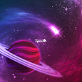 Comet flying around the planet with rings on colorful space background. Vector illustration for your design, artworks.